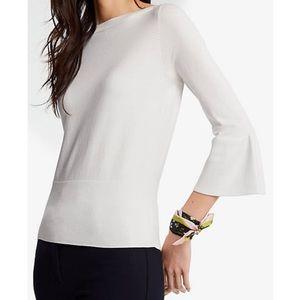 ANN TAYLOR cream white bell sleeve sweater medium